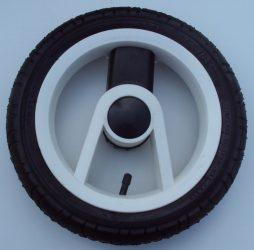"""Adbor Lux. Pumpálható (tömlős) 12"""" Babakocsi kerék fehér-fekete nagy hátsó"""