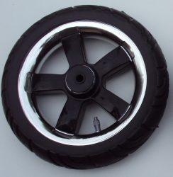 Tömör Omega Babakocsi Kerék Fekete-Króm kicsi